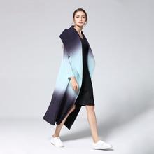 LANMREM 2020 New Fashion Pattern Pleated Leisure Long Sleeve Cardigan Large Lapel Gradient Color Sli