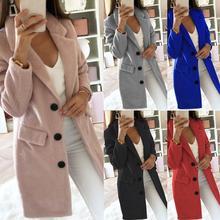 Осень зима длинный рукав кардиган сплошной цвет для женщин лацкан Блейзер Куртка пальто