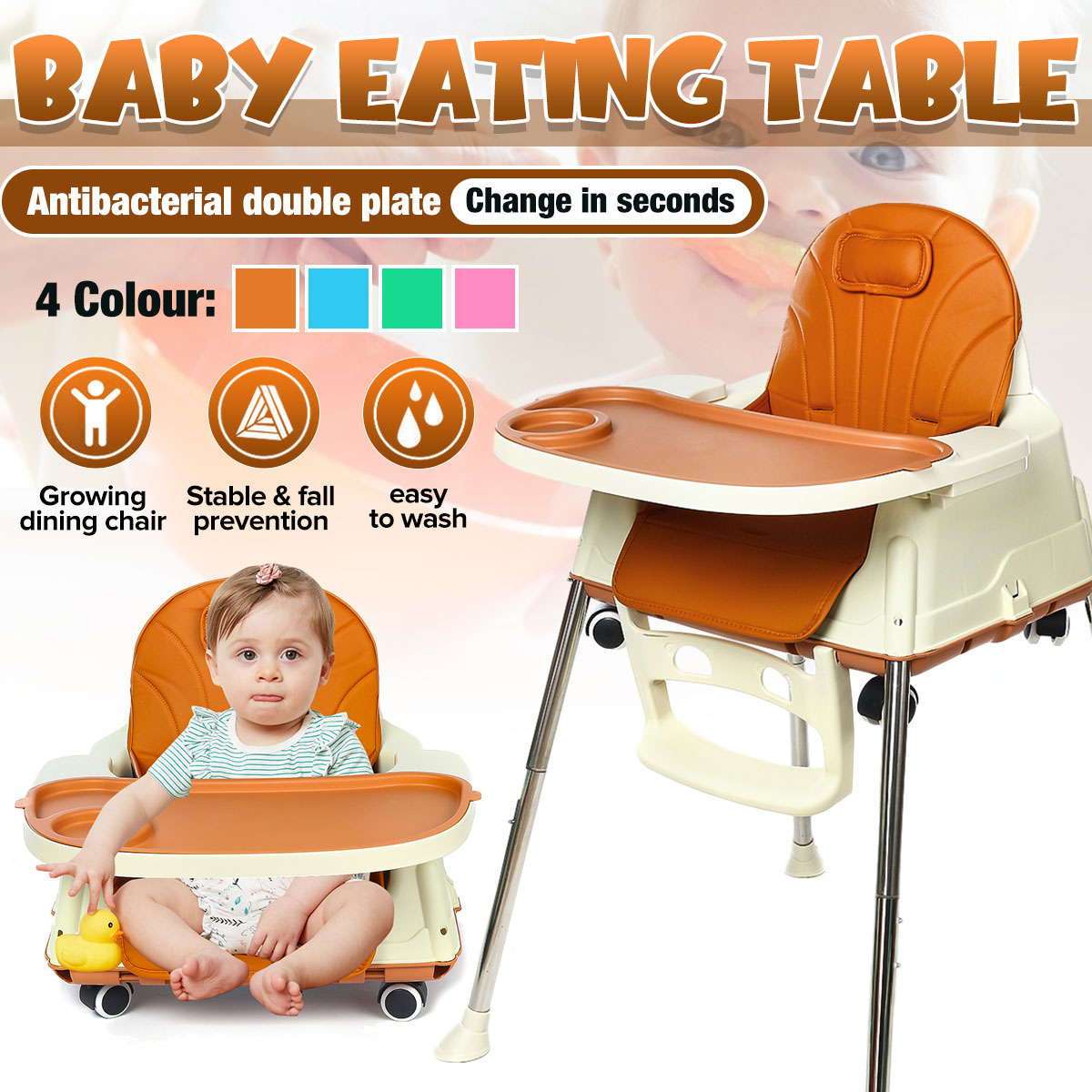 Multifunction Children's Dining Chair Portable Baby Seat Baby Dinner Table Adjustable Folding Chairs With Wheels For Children