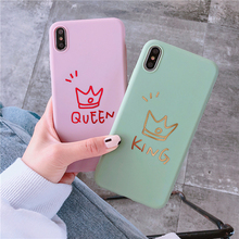 Bronzing painted crown letter phone case for iPhone 6 6s 7 8 Plus silicone TPU case for iPhone XR XS Max X back cover soft case цена