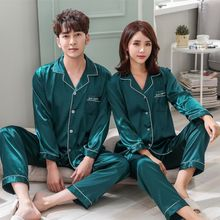 Wholesale Couple Pajamas Sleepwear Nightgown Set Long Sleeve Autumn Silk Home Suit Turn-down Neck Plus Size Couple Sleepwear W1