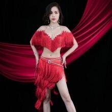 Costume élégant haut de gamme, soutien-gorge à franges, jupe ceinture à clous de diamants, vêtements de Performance pour adultes, compétition de carnaval