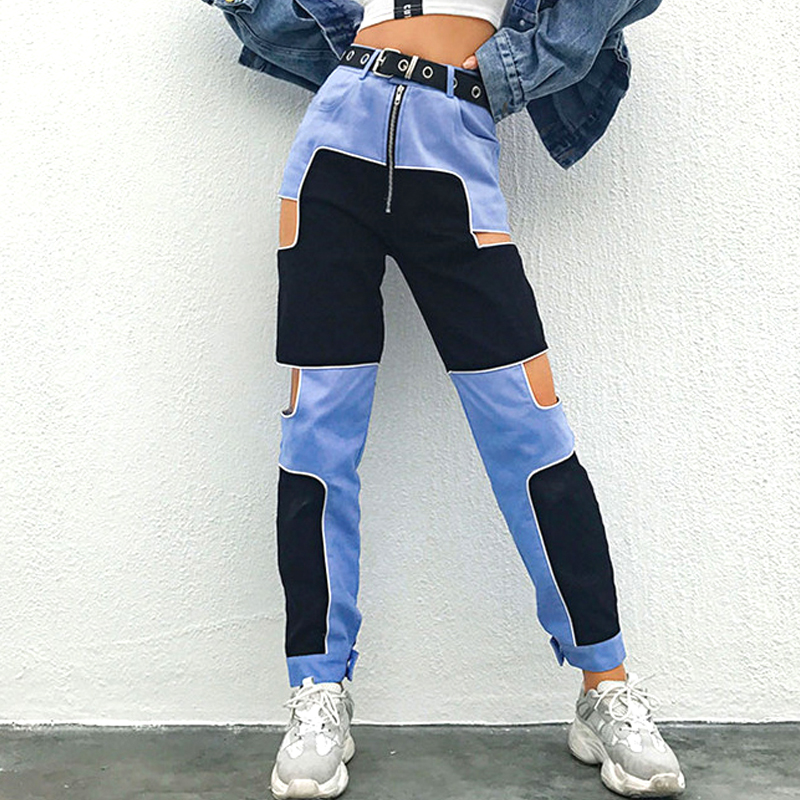 2019 Hip Hop Women Harem Pants High Waist Joggers Side Hollow Out Color Block Patchwork Casual Pants Chic Streetwear Trousers