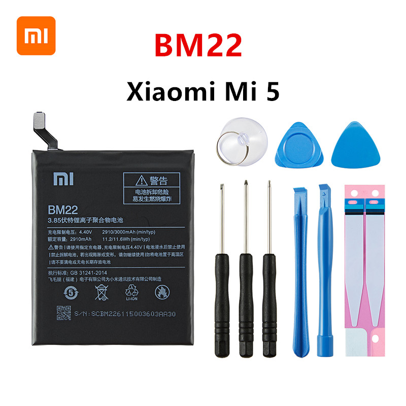 Xiao <font><b>mi</b></font> 100% Orginal BM22 3000mAh <font><b>Battery</b></font> For Xiaomi <font><b>Mi</b></font> <font><b>5</b></font> Mi5 M5 BM22 High Quality Phone Replacement <font><b>Batteries</b></font> +Tools image