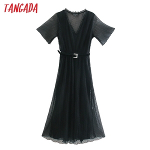 Tangada fashion women solid black pleated mesh dress short sleeve with belt ladies elegant midi dress vestidos CE697