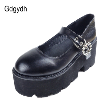 Gdgydh 2021 Spring Autumn News Women Pumps Round Toe Sweet Mary Janes Female Single Shoes Shallow Soft Leather Black - discount item  49% OFF Women's Shoes