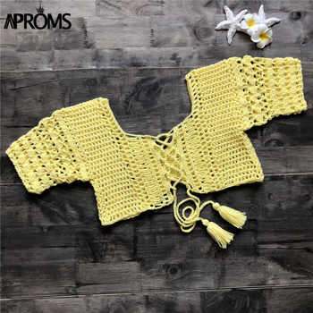 Aproms Sexy White Knitted Crochet Tank Tops Women Summer Beach Bikini Crop Top Casual Green Tassel Lace Up Tube Tops Female Tees