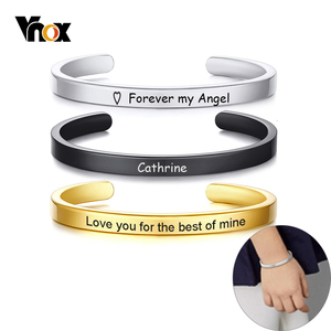 Vnox Customized Classic Children Bangle for Boys Girls 5mm Stainless Steel Kids Baby Cuff Bracelets Personalize Name Love Gift
