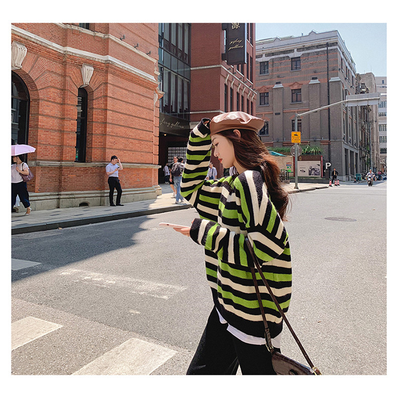 Focal20 Streetwear Hit Color Stripe Women Sweater Top Crew Neck Loose Female Pullovers Jumpers Casual Autumn Lady Sweaters Tops 1