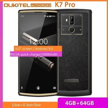 Перейти на Алиэкспресс и купить OUKITEL K7 Pro смартфон с 6-дюймовым дисплеем, восьмиядерным процессором MT6763, ОЗУ 4 Гб, ПЗУ 64 ГБ, 10000 мАч, Android 9,0