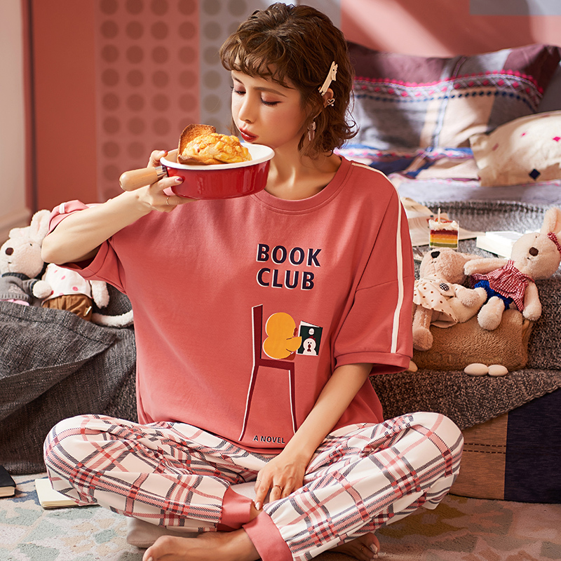 New Lazy Princess Style Pajamas 2020 Spring Summer Cotton Women Pajamas Set Cute Short Sleeve Women Sleepwear Long Pant Home Set