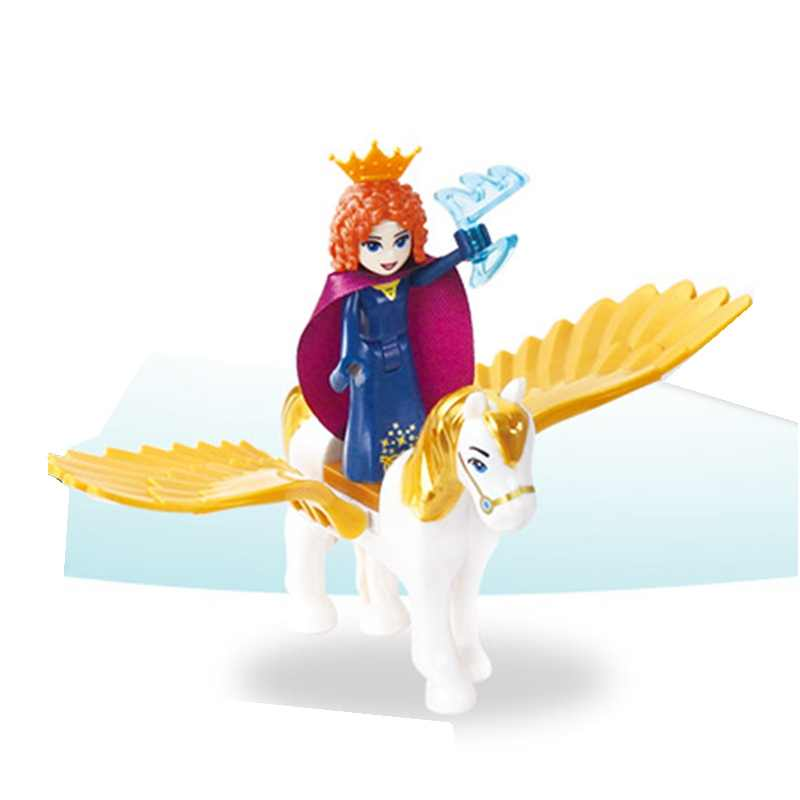 10pcs/lot Legoing Friends Toys Princess with Flying Horse Building Blocks Animal Girl Mermaid Figures Cinderella White Snow City