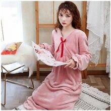 Женская фланелевая ночная рубашка с длинным рукавом осенне зимняя