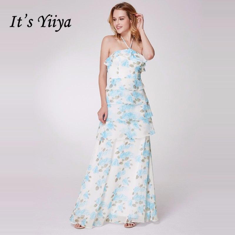 It's Yiiya   Bridesmaid     Dresses   Stapless Elegant Ruffles Women Party for Girls Pint Chiffon Plus Size Long Vestido Madrinha C509