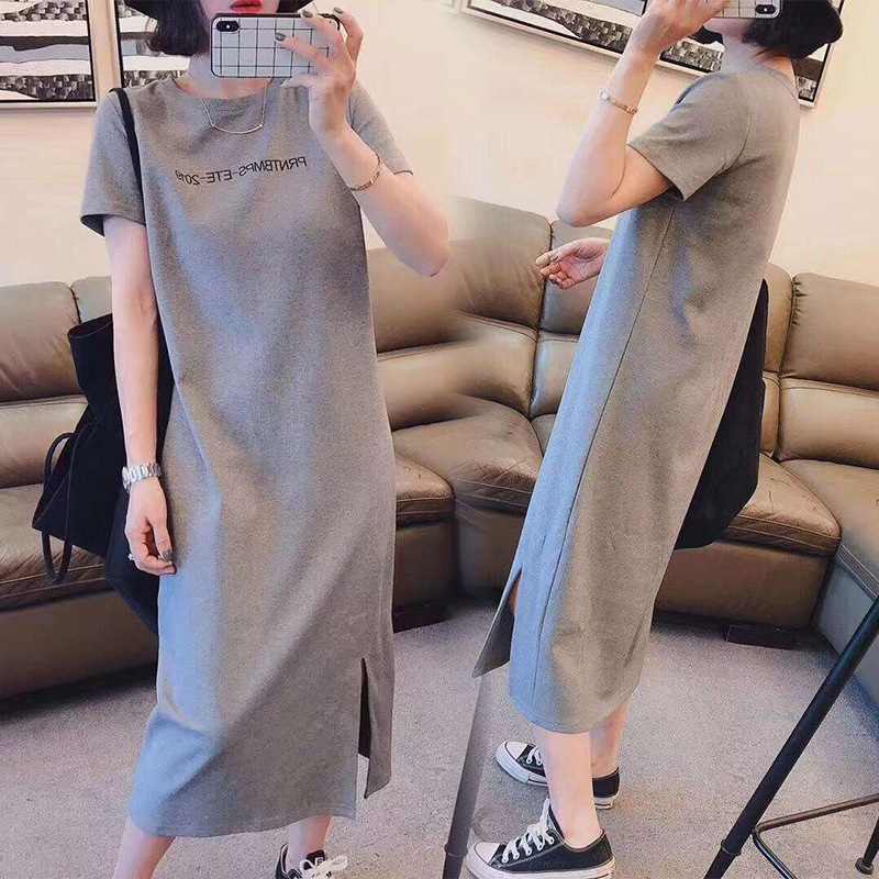 Short Sleeve Nightgown Women's Summer Nightgown 2019 Lettered Skirt Gray M-XXL (10 Yuan) 2019 New Style