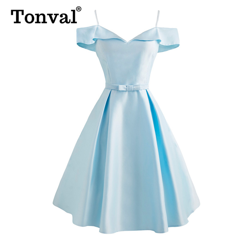 Tonval Vintage Silky Light Blue Bow Front Cold Shoulder Solid Dress Women Spaghetti Strap Elegant Ladies Party Dresses