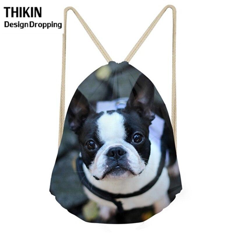 THIKIN Cute Drawstrings Bags 3D Boston Terrier Dog Printing Women Softback Teenager Travel Backpack Waterproof  Storage Bag 2019