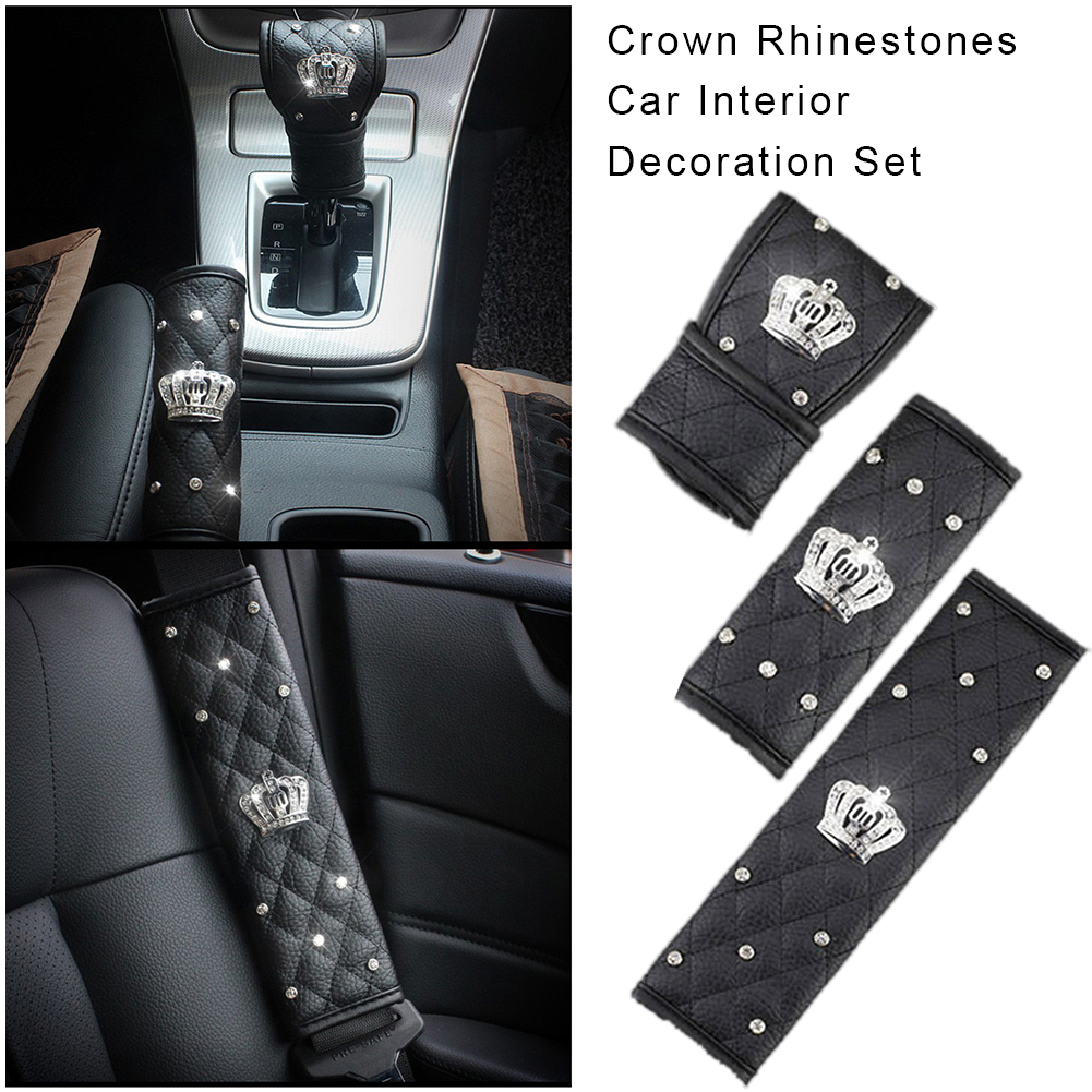 Universal Rhinestones Crown Car Interior Decoration Set Leather Seat Belt Shoulder Cover Hand Brake Cover Gear Shift Knob Cover