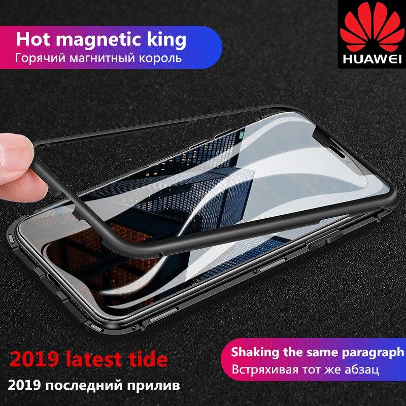 Huawei p 2019 inteligente caso de Adsorção Magnética Caixa De Metal para huawei Y9/Y5 2019 Y6/Y7 Pro Y6 /Y7 Prime 2019 Maimang 7 Nova 2 3 4 5i