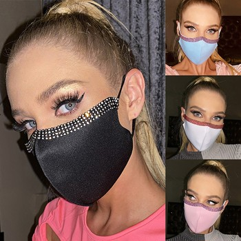 -Bling Glitter Reusable Mouth Face Mask Diamond Sparkle Sequin Anti Haze Dustproof Mask With Filters Protection Cover Respirator