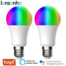 Lonsonho 2 قطعة E27 Tuya WiFi الذكية ضوء LED لمبة مصباح RGB + واط + C 9 واط الذكية الحياة App الموقت باهتة متوافق اليكسا جوجل المنزل