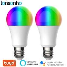 Lonsonho 2 個E27 チュウヤwifiスマートライトled電球ランプrgb + w + c 9 ワットスマートライフアプリタイマー調光互換alexa googleホーム