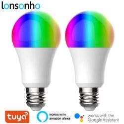 Lonsonho 2 sztuk E27 Tuya Wifi inteligentna żarówka LED żarówka lampa RGB + W + C 9W 900lm inteligentne życie App Timer ściemniacz kompatybilny Alexa Google strona główna w Moduły automatyki domowej od Elektronika użytkowa na