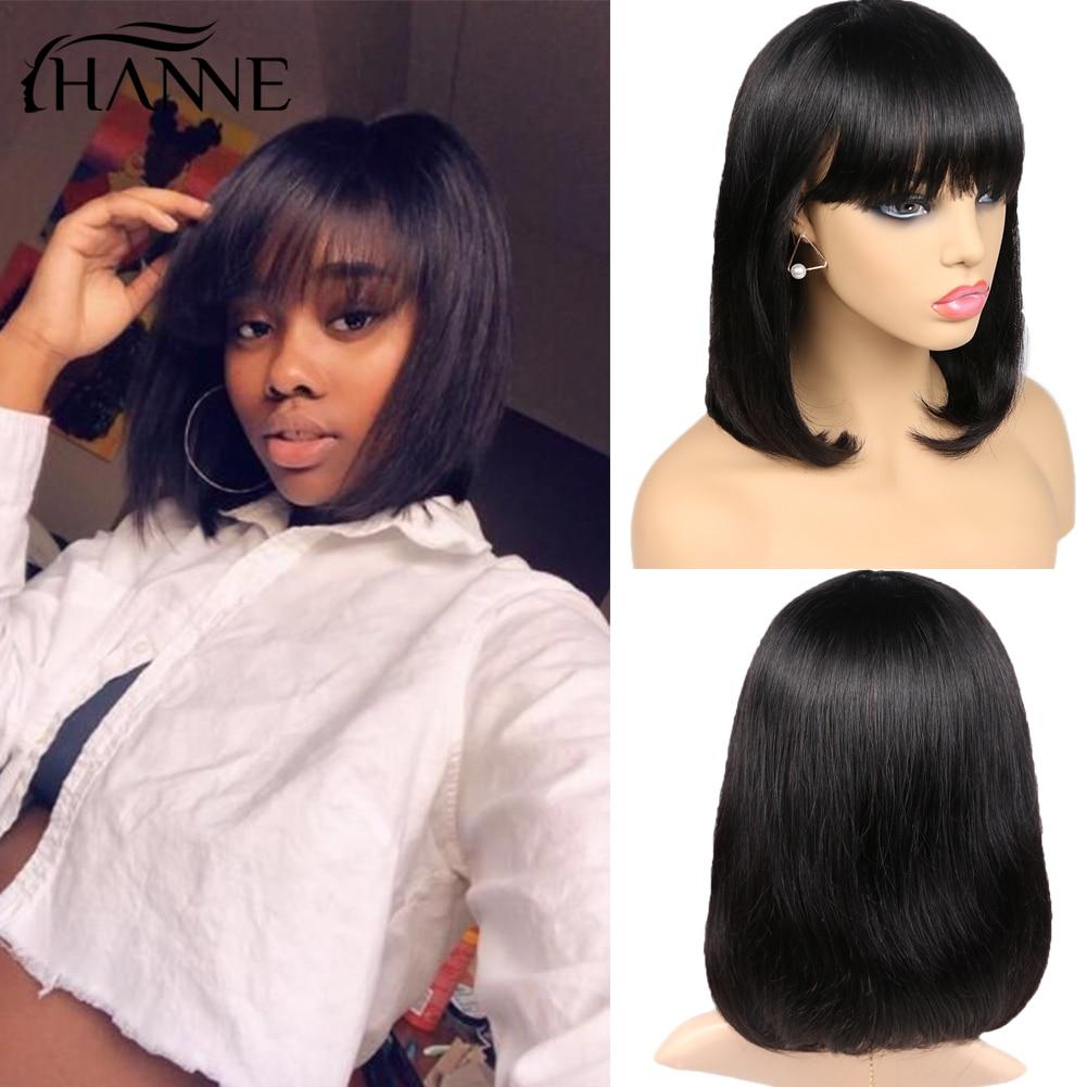 Short Human Hair Wigs Perruque Cheveux Humain Bob Pixie Cut Wig Brazilian Natural Hair Glueless Wigs With Bangs For Black Women