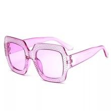 Plating Rhinestone Sunglasses Women Fashion Plastic Square Sun Glasses Candy Eyewear Summer Shades Vintage 5038OLO