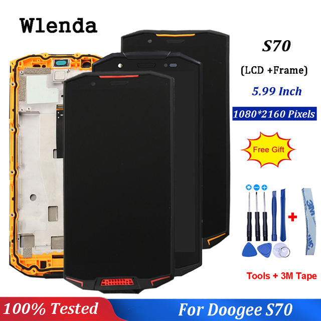 For Doogee S70 LCD Display And Touch Screen 5.99inch Assembly With Frame Repair Parts For Doogee S70 Lite +Free Tools