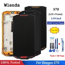 Per Doogee S70 Display LCD E di Tocco Dello Schermo di 5.99 pollici di Montaggio Con Cornice Parti di Riparazione Per Doogee S70 Lite + strumenti gratuiti
