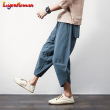 New Men Hiphop Jogger Trousers Men Ultralarge print Pants Casual Calf-Length Pants Male Summer Punk Street Pants Lantern Pants cheap Ligentleman Wide Leg Pants Ankle-Length Pants Flat Loose Linen COTTON Full Length Midweight Broadcloth Pockets Chinese Style