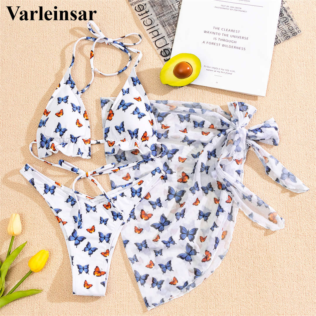 New Halter Butterfly Printed Bikini Female Swimsuit Women Swimwear Three-pieces Bikini set With Sarong Bather Bathing Suit V2916 3