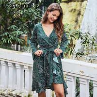 Everafter elegante babados pontos impressão chiffon vestido feminino sexy com decote em v cruz manga longa faixas feminino vestidos de festa vintage 2019