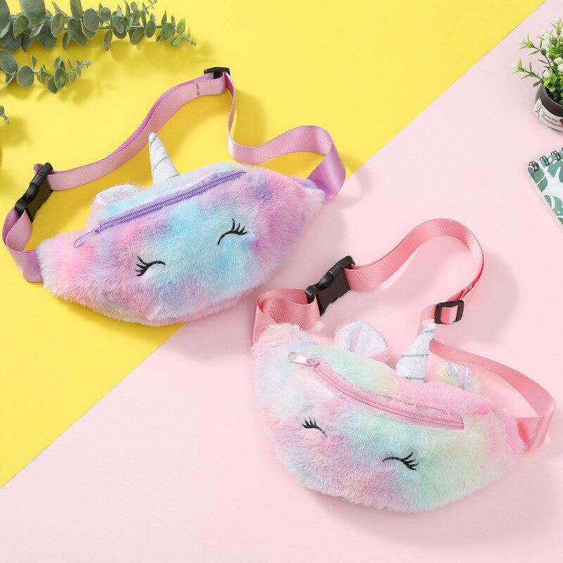 2019 Cute Unicorn Female Waist Bag Kids Fanny Pack Cartoon Plush Women Belt Bag Fashion Travel Phone Pouch Chest Bag