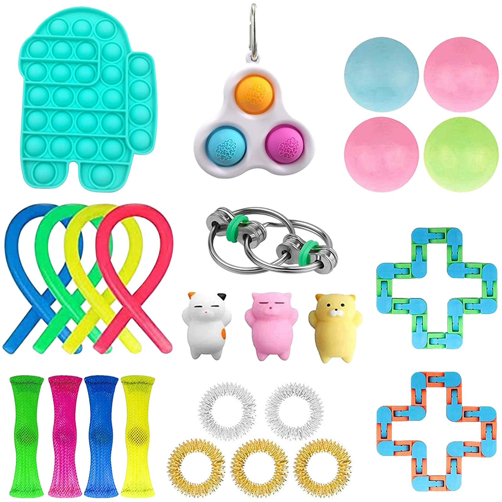 Fidget-Toys Strings Anti-Stress-Set Gift-Pack Relief Sensory Squishy Pop-It Adults Stretchy img4