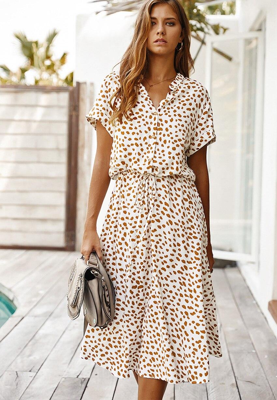 Dots Print White Short Sleeve Midi Boho Beach Dress 4