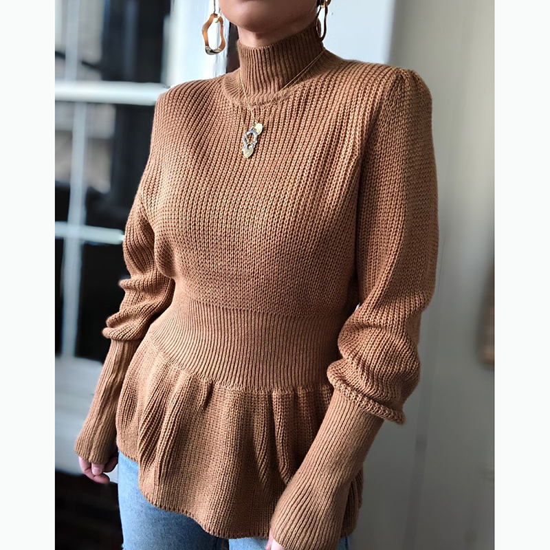 Spring Autumn New Women Knitted Sweaters Shirt Fashion Long Sleeves Loose Pullover Casual Tops High Neck Pullover Soft Fashion