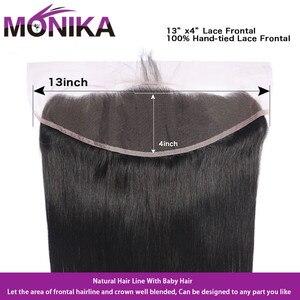 Image 5 - Monika cheveux malaisie paquets de cheveux raides avec Frontal 28 pouces cheveux humains frontaux avec faisceaux non remy cheveux frontaux et faisceaux