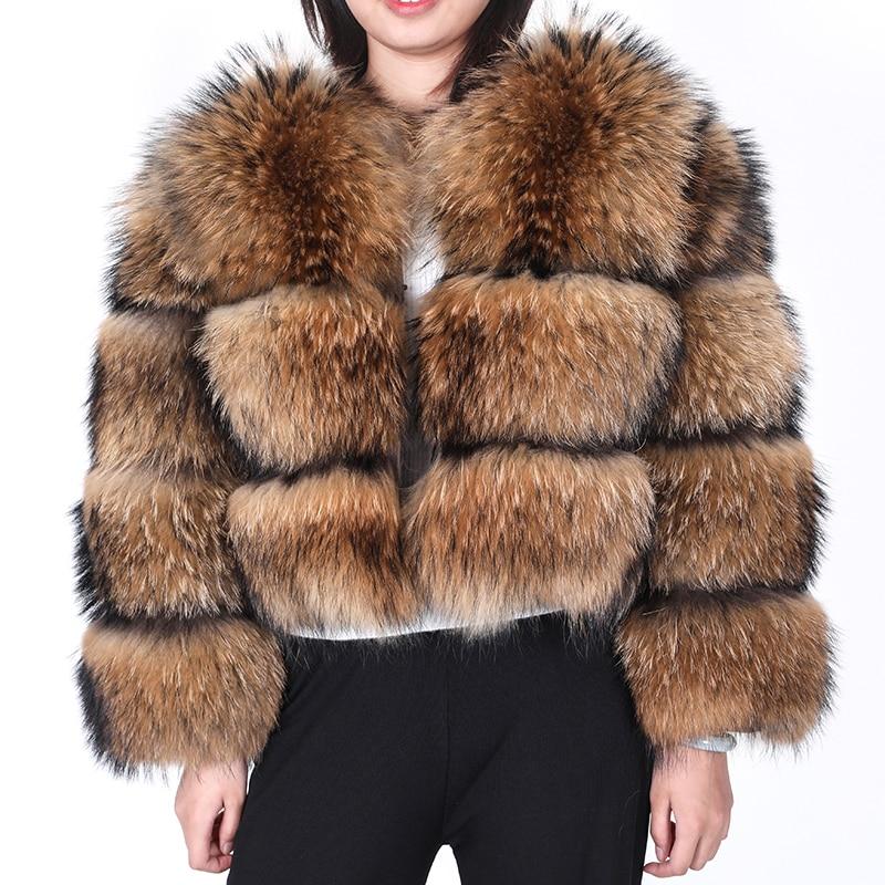 Зимняя женская шуба из натурального меха лисы, шуба из натурального меха енота, меховая Шуба с рукавами, пальто и куртки для женщин 2020