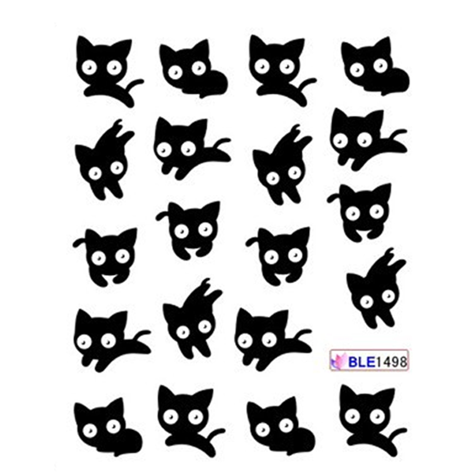 Image 3 - 11 Designs Cute Panda Pattern Stickers On Nails Black Cat Water Tattoo Slider Nail Art Decoration Full Wrap Tips BEBLE1489 1499-in Stickers & Decals from Beauty & Health