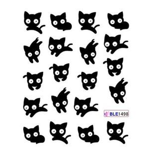 Image 3 - 11 Designs แพนด้าน่ารักรูปแบบสติกเกอร์เล็บสีดำแมว TATTOO Slider ตกแต่งเล็บเต็มรูปแบบเคล็ดลับ BEBLE1489 1499