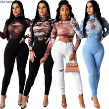 2020 Women Summer T-Shirts O-Neck Full Sleeve Mesh Perspective Sexy Tshirt Night Club Party Tops Casual Print Shirts Tees GL8310(China)
