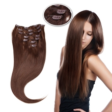 "Vlasy 20"" 7pcs/set Full Head Machine Made Remy Hair 100g Straight Natural Clip In Human Hair Extensions"