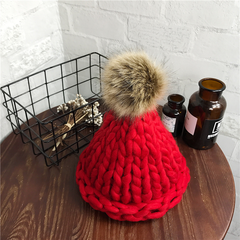 Women's Fashion Winter Pompom Wool Hat Coarse Lines Outdoor Warm Hat Beanie Knitted Hat Multicolor Optional