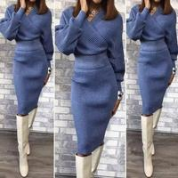 Winter Autumn Womans Sweater Midi Skirt Sets Solid Color Female Casual Two Pieces Suits Loose Sweater Knit Skirt