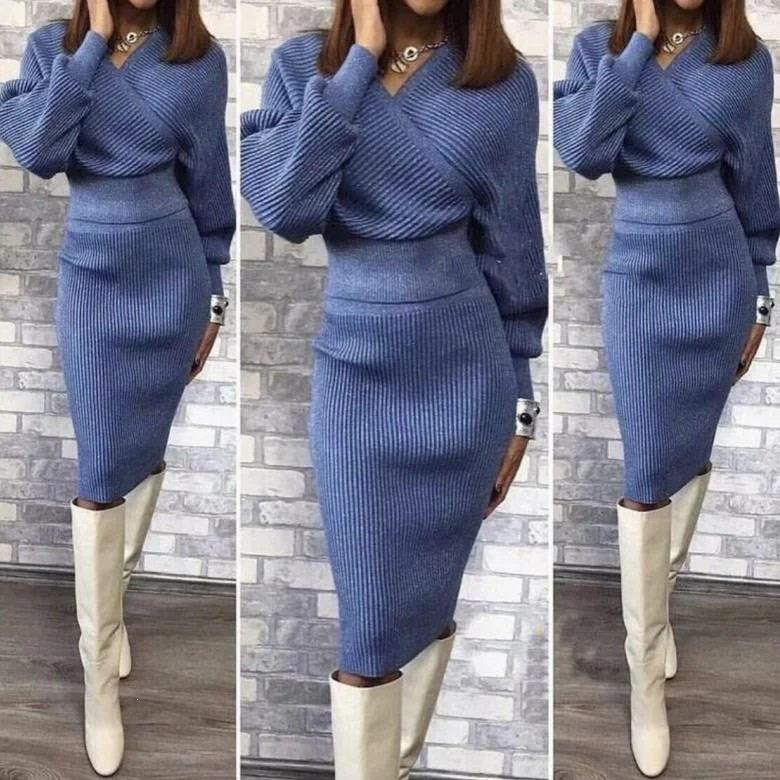 Winter Autumn Womans Sweater   Midi Skirt Sets Solid Color Female Casual Two-Pieces Suits Loose Sweater Knit Skirt