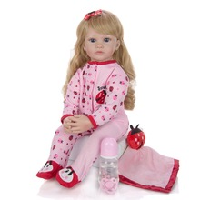 about 24inch Bebe Reborn Doll soft cotton Body + Silicone Dolls  Realistic girl Doll Simulation Kids Playmates Gift toy for kids keiumi wholesale reborn girl dolls 23 57 cm girl so truly realistic baby doll toy full silicone body waterproof kids playmates