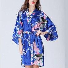 HOt Sale Silk Satin Women's Robe Floral Bathrobe Short Kimono Robe Night Bath Robe Fashion Dressing Gown For Women Dropshipping