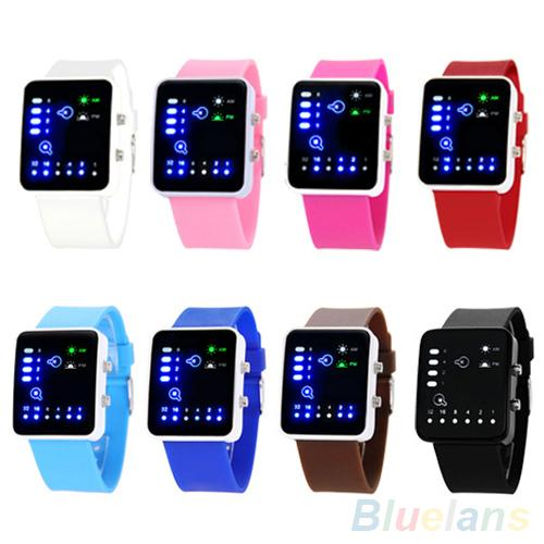 Casual Unisex Binary System LED Square Dial Silicone Band Quartz Wrist Watch Orologio Donna Horloges Vrouwen New Fashion Watch F